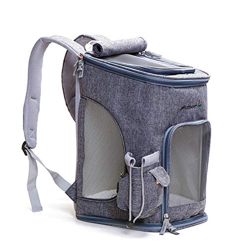 Fashion Breathable Carrying Cat Dog Shoulder Backpack Puppy Outside Travel Portable Bag,Gray,28x28x43cm -