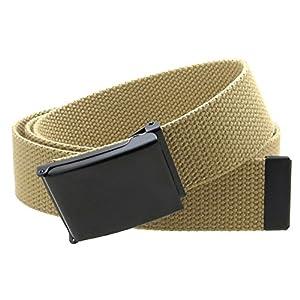 Canvas Web Belt Flip-Top Black Buckle/Tip Solid Color 50″ Long 1.5″ Wide