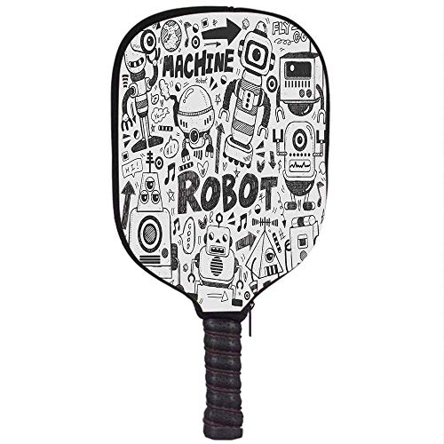 Amazon.com : YCHY High Grade Neoprene Pickleball Paddle Racket Cover Case, Robot, Futuristic Space Doodle Style Androids Sci Fi Pattern Fantasy Machine Art ...