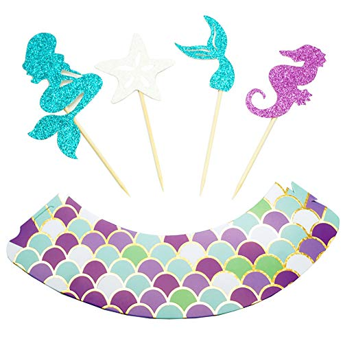 48 Pieces Mermaid Cupcake Toppers and Wrappers-Decoration for Little Mermaid Theme, Under The Sea Theme, Baby Shower Birthday Party Favors,Mermaid Tail, Seahorse,Starfish and Mermaid Food Picks by VEHIRIN (Image #1)