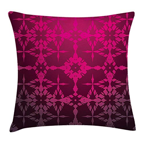 YXZILH Magenta Decor Throw Pillow Cushion Cover, Victorian Stylized Classical Bound Ornamental Mosaic Patterns Nostalgic Design, Decorative Square Accent Pillow Case, 18 X 18 inches, Rosewood -