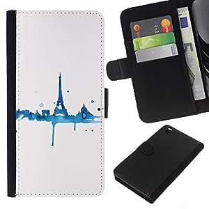 KLONGSHOP // Tirón de la caja Cartera de cuero con ranuras para tarjetas - Azul Torre Blanca Eifel minimalista - HTC DESIRE 816 //