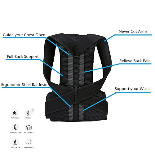 - Back Support Brace Posture Corrector Traction Device - Relieves Neck, Back and Spine Pain - Improve Bad Posture, Thoracic Kyphosis, Shoulder Alignment for Men and Women (L)