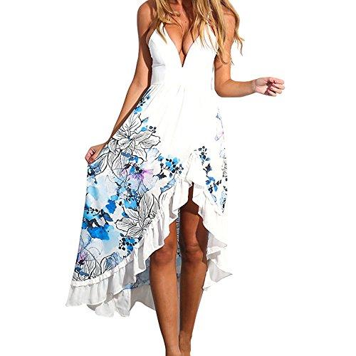 Women's Party Cocktail Dress Beach Sundress Hem Split Print Sling Dress Skirt White