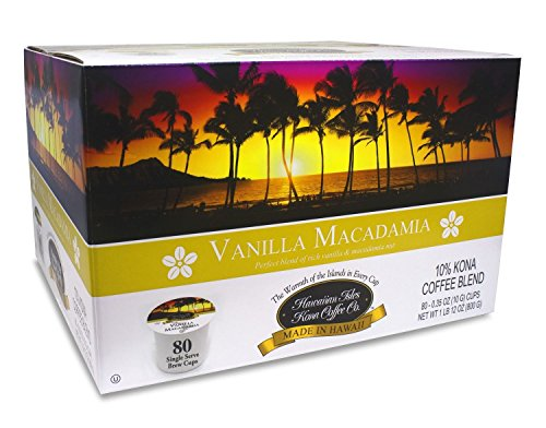 Hawaiian Isles Kona Coffee 80 Single Serve Coffee K Cups (Vanilla Macadamia)