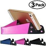 HONSKY 3 Packs of Pocket-sized V Smart Phone Holder, Tablet Stands for Most Android Smartphones, Tablets, E-readers, Durable Plastic Body - Rose Red, Deep Blue, Black