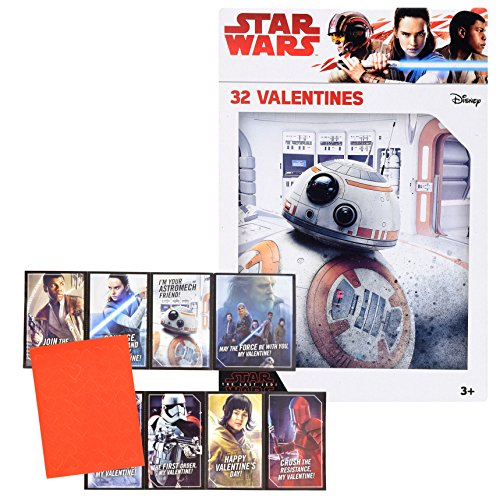 Valentines Day Classroom Exchange Gift | Disney Star Wars May The Force Awakens Valentine | 32 Valentines Teachers Card Included | 8 Fun Design Kids DIY DayCare Homeschooling Sunday School