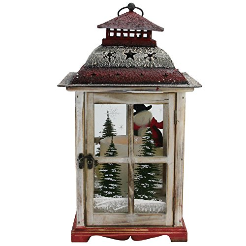 Northlight Snowman and Christmas Pillar Candle Lantern, 17.5'', White by Northlight (Image #2)