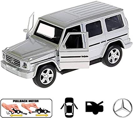 MERCEDES BENZ G CLASS 12 cm Opening Doors Pull Back /& Go Metal Toy Car Blue