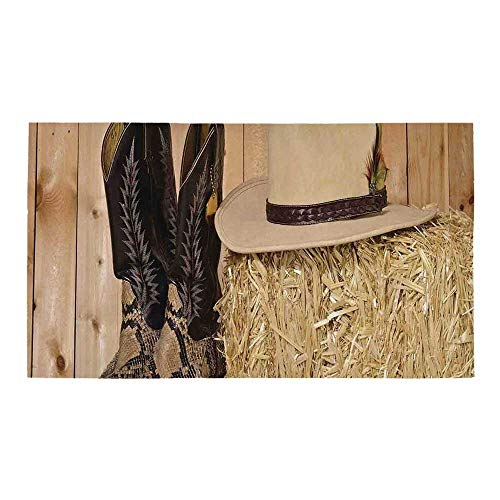 C COABALLA Western Decor Rectangular Bath Rug,Snake Skin Cowboy Boots Timber Planks in Barn with Hay Old West Austin Texas for Bathroom,28