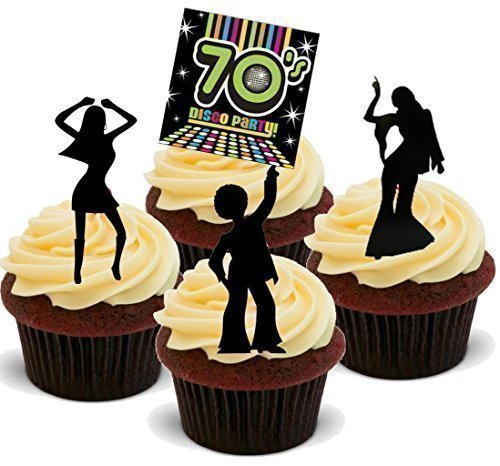 Baking Bling Novelty Seventies Disco Party Mix 'B' - Standups 12 Edible Standup Premium Wafer Cake Toppers - 2 x A5 Sheet - 12 Images