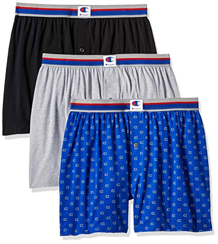 Champion Men's Everyday Comfort Cotton Stretch Knit Boxers 3-Pack, Ebony/Grey Heather/c Logo Print ()