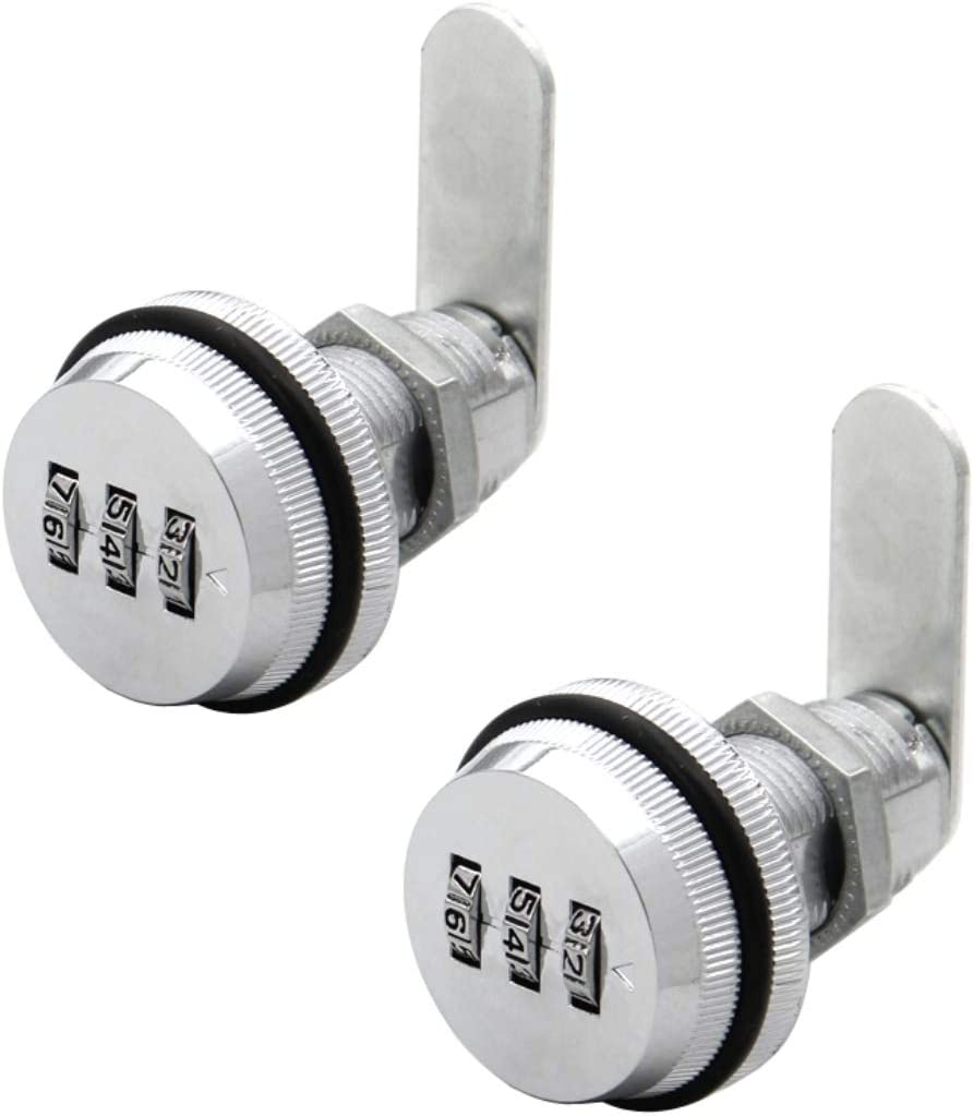 JZK 2 PCS 3 Digit Code Combination camlock cam Lock Password Coded Lock for Locker Wardrobe Door Filing Cabinet Mailbox Drawer Cupboard