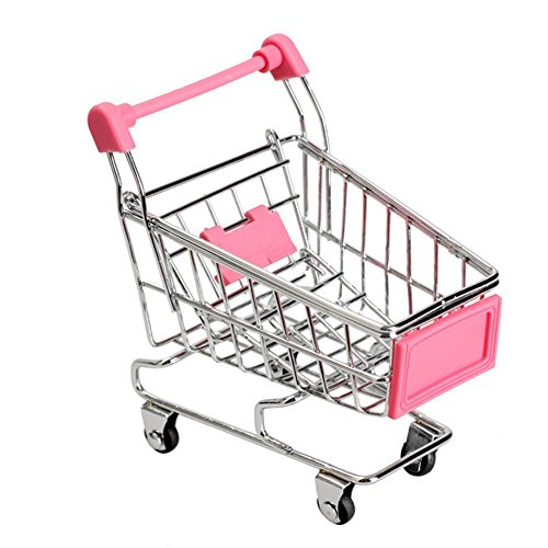MagicW Mini Shopping Cart Trolley for Desktop Decoration Ornament Toys Novelty Mini Toy Shopping Cart - Pen/Pencil/PostIt Holder Desk Accessory Pink