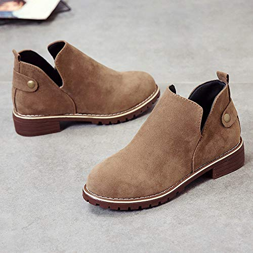 Women Suede Cut Clearance Flat Color Boots Solid Suede Out Shoes Toe Khaki Round OverDose Vintage Ankle Shoes Boots Hasp Booties Martin qx84ZCwx