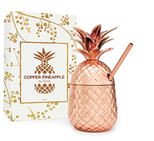 Solid Copper Pineapple Tumbler / Mug with Copper Straw- Available in 3 Sizes (12oz,18oz,24oz)- Handcrafted Drinking Mugs Unique Christmas/ Anniversary/ Birthday Gift Idea (Unique Corporate Christmas Gift Ideas)