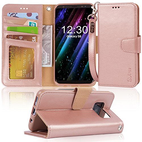 Arae Case Compatible for Samsung Galaxy S8, [Wrist Strap] Flip Folio [Kickstand Feature] PU Leather Wallet case with ID&Credit Card Pockets [Not for Galaxy S8 Plus] (Rosegold)