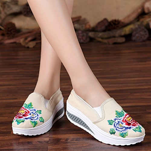 Fashion Flats Shoes Shoes Women Sister Beige Shake Wedge up Slip Shopping Platform Canvas Flower Thick Embroideried Students Bottom YxwRR6qO0v