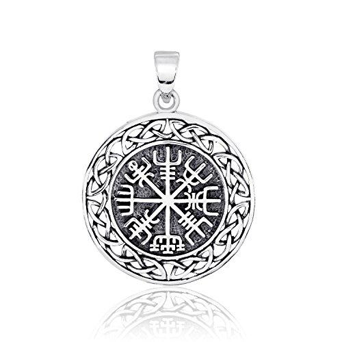 WithLoveSilver Solid 925 Sterling Silver Vegvisir Talisman Celtic Viking Protection Pendant