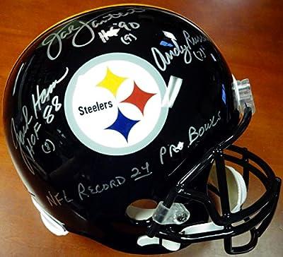 "Jack Lambert, Jack Ham & Andy Russell Autographed Full Size Helmet Pittsburgh Steelers ""HOF & NFL Record 24 Pro Bowls"" PSA/DNA"
