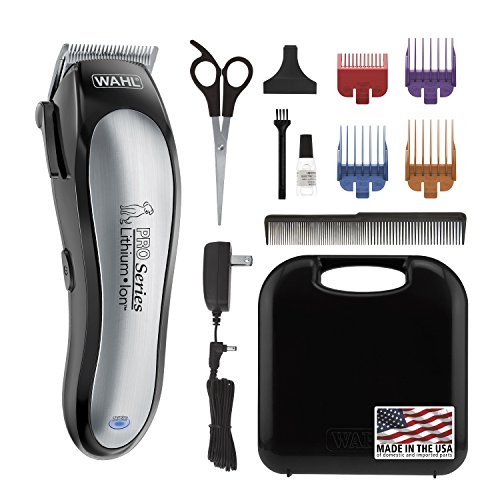 Animal Grooming Kit (Wahl Lithium Ion Pro Series Cordless Dog Clippers, Rechargeable Low Noise/Quiet Dog Grooming Kits for Hair Cut for Small/Large Dogs, Thick Coats, Cats, by The Brand Used By Professionals. #9766)
