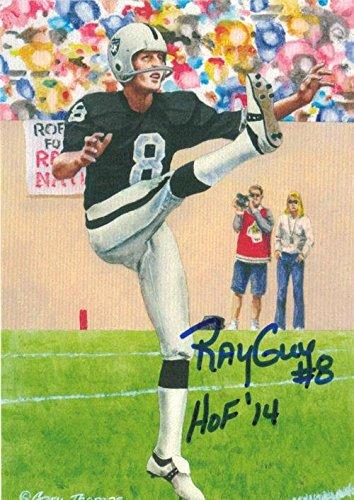 "Ray Guy Autographed Oakland Raiders 11520 Goal Line Art Card (blue) ""hof 14 - NFL Autographed Football Cards"