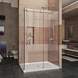 DreamLine Enigma-X 34 1/2 in. D x 48 3/8 in. W x 76 in. H Fully Frameless Sliding Shower Enclosure in Polished Stainless Steel, SHEN-6134480-08