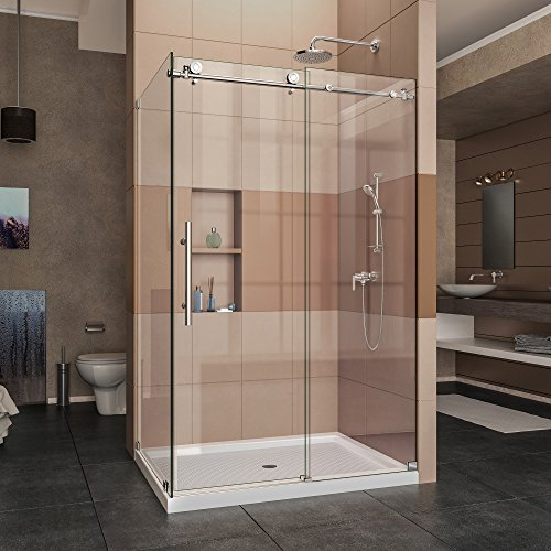 DreamLine Enigma-X 34 1/2 in. D x 48 3/8 in. W x 76 in. H Fully Frameless Sliding Shower Enclosure in Polished Stainless Steel, SHEN-6134480-08 - Rectangle Shower Enclosures