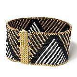 DIY Beading Kit - Gold and White Striped Triangles Beaded Bracelet, Peyote Bracelet Kit, Beading Patterns, DIY Beading Kit, Peyote Pattern, DIY Kit, All Supplies Included