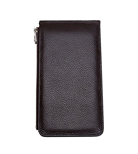 High coffee Capacity Leisure Leather Package Leisure 1 Card HopeEye Card New Wallet Multi Unisex Slot Black Genuine Folder Money w7qCP4U