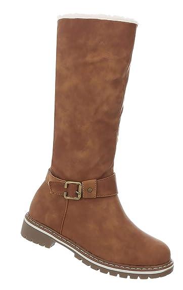 9199323af618e0 Damen Schuhe Stiefel Winterschuhe Langschaft Winter Boots gefüttert Camel 36
