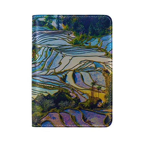 Passport Cover Case Yunnan City Free Travel Romantic Color Leather&microfiber Multi Purpose Print Passport Holder Travel Wallet For Women And Men 5.51x3.94 In ()
