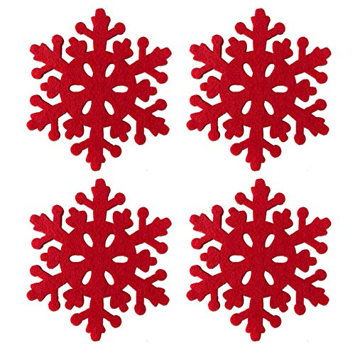 Azude Christmas Decorations Cute Red Felt Snowflake Drink Wine Coffee Cup Coasters Set for Xmas Holiday Ornaments, 4pcs ()