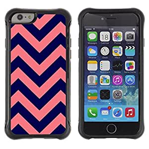 WAWU Funda Carcasa Bumper con Absorci??e Impactos y Anti-Ara??s Espalda Slim Rugged Armor -- chevron purple peach pink pattern -- Apple Iphone 6