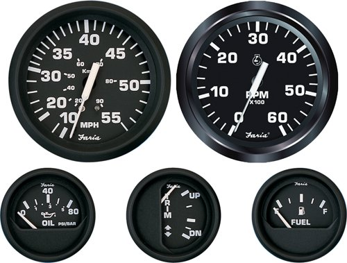 Faria Beede Instruments 12821 2 in. Euro Black Voltmeter 10-16 VDC ()
