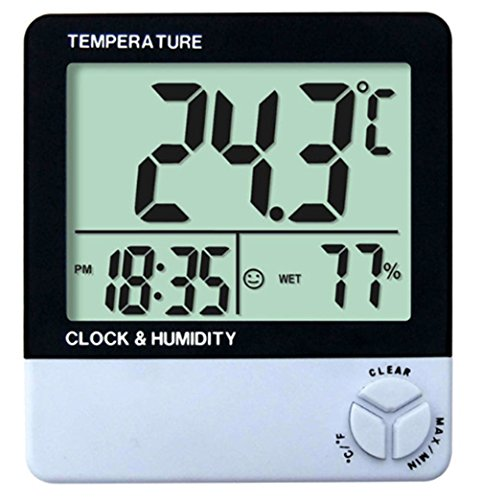 SPL STH 1000 Digital LCD Indoor Outdoor Large Display Therm Hygrometer Meter Waterproof Temperature Humidity Meter Clock Probe