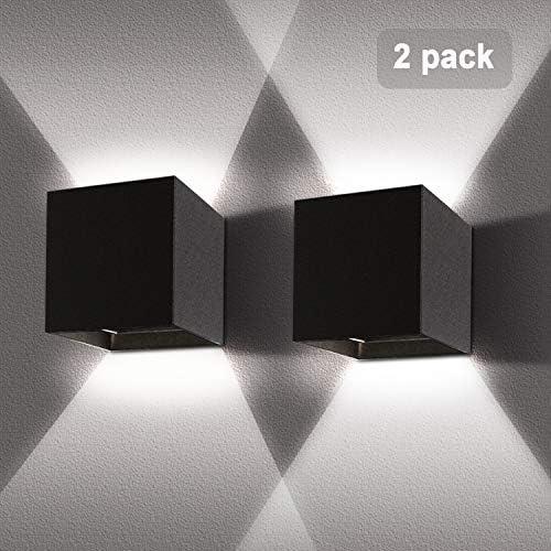 2 Pezzi 12W LED Lampada da parete Bianco freddo 6000k Nero Applique da parete interno/esterno moderno Impermeabile IP65 Applique cubo in alluminio Lampada Muro su e Giù Regolabile