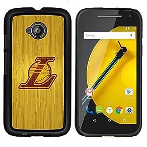 L Laker Baloncesto- Metal de aluminio y de plástico duro Caja del teléfono - Negro - Motorola Moto E2 / E(2nd gen)