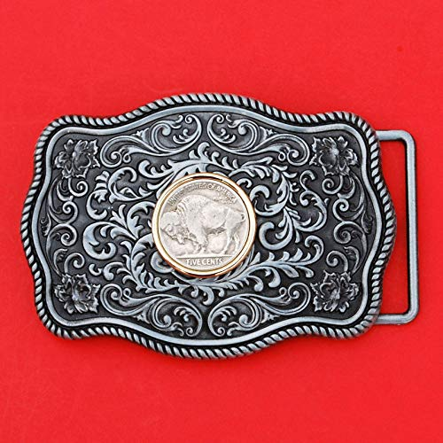 US 1913~1938 Indian Head Buffalo Nickel 5 Cent Coin Gold Silver Two Tone Belt Buckle NEW - Beautiful Western Scroll Design