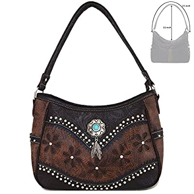 Tooled Leather Laser Cut Concealed Carry Purses Feather Country Western Handbags Shoulder Bags Wallet Set