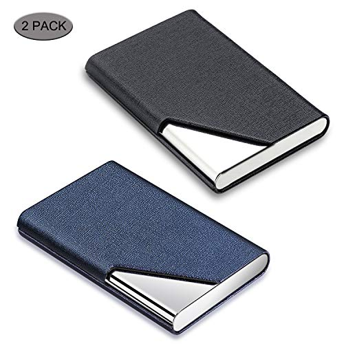 Metal Business Card Case Holder - Business Card Holder, DMFLY 2 Pack Business Card Case - Luxury PU Leather & Stainless Steel Metal Business Card Holder Wallet Credit Card Case/Holder for Women and Men, Magnetic Shut Style (DM-BB01)