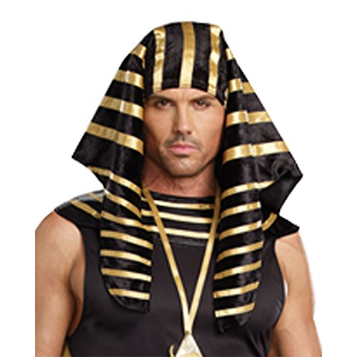 Dreamgirl Men's Pharaoh Head Piece, Black, One Size -