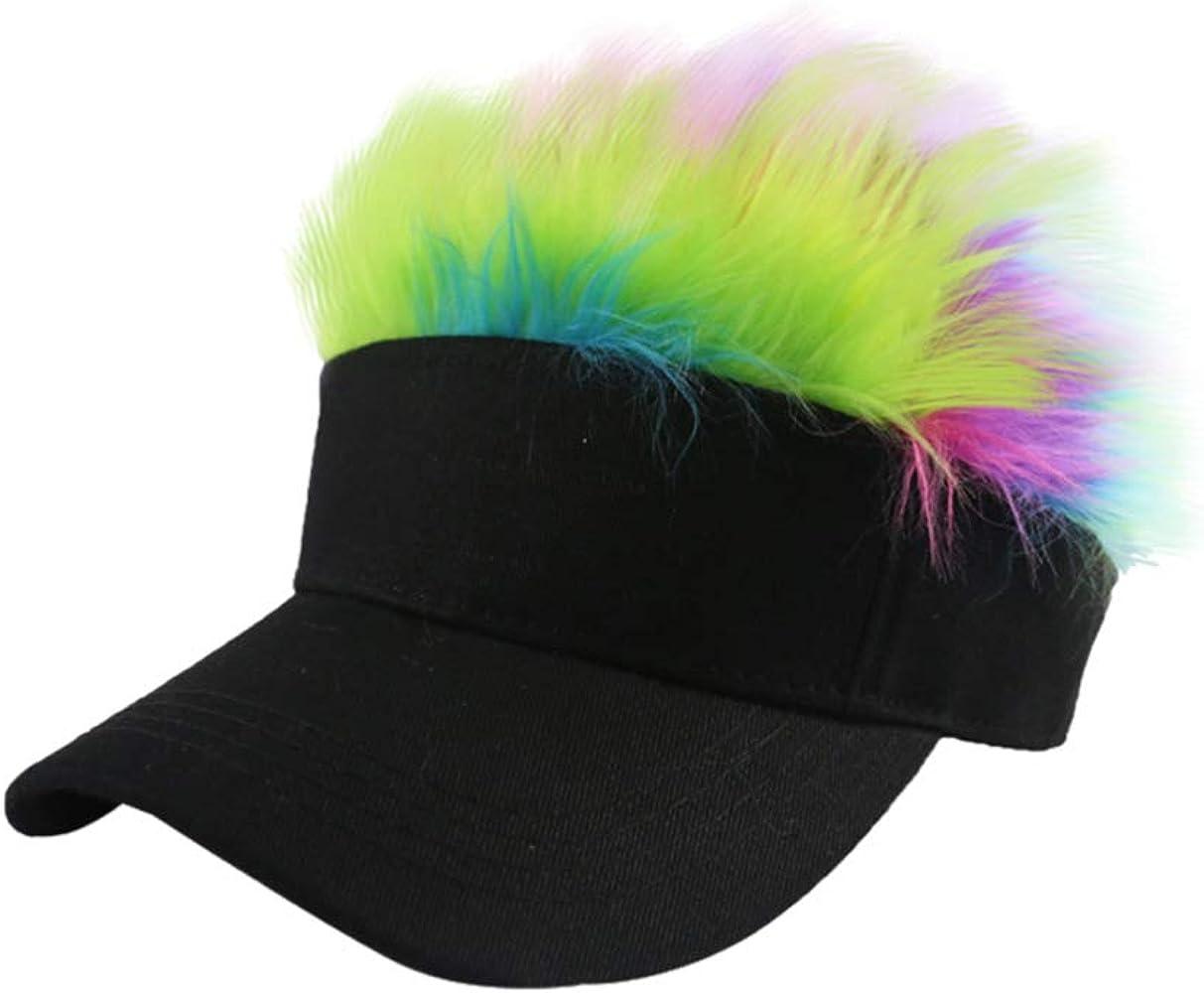 FENICAL visera para el cabello gorra de béisbol con pelo arcoíris ...