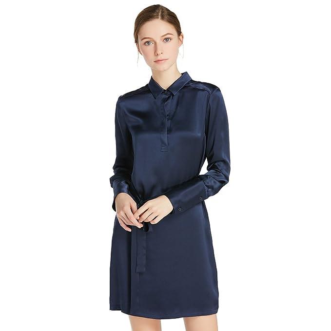 4503419d5b800d LILYSILK Women s Charmeuse Silk Blouse Shirt Dress Short with Belt Long  Sleeve 22 Momme 100%