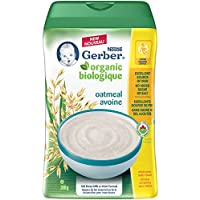 GERBER Organic Oatmeal Whole Grain Baby Cereal Plastic Container 6 x 208 g (Pack of 6)