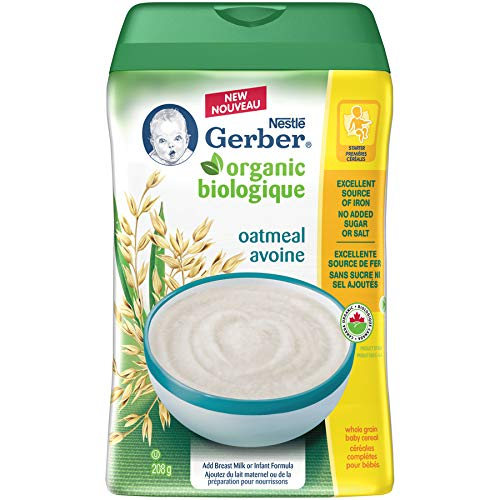 GERBER Organic Oatmeal Whole Grain Baby Cereal Plastic Container 6 x 208 g (Pack of 6) Nestlé