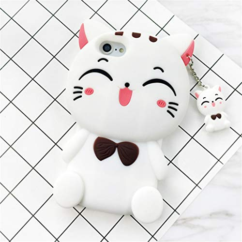 McLeod iPhone 4 4S Case, 3D Lucky Fortune Cat with Cute Bow Tie Soft Silicone Rubber Case for iPhone 4 4S (White Fortune Cat) ...