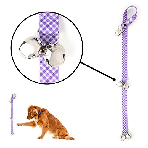 Mighty Paw Tinkle Bells 2.0, Designer Dog Doorbells, Stylish Fabric with Premium Quality Bells, Housetraining Doggy Door Bells for Potty Training (Purple - Plaid) ()