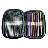 BLUBOON(TM) NEW 22pcs Multicolour Aluminum Crochet Hook Knitting Needle Set Weave Craft Yarn