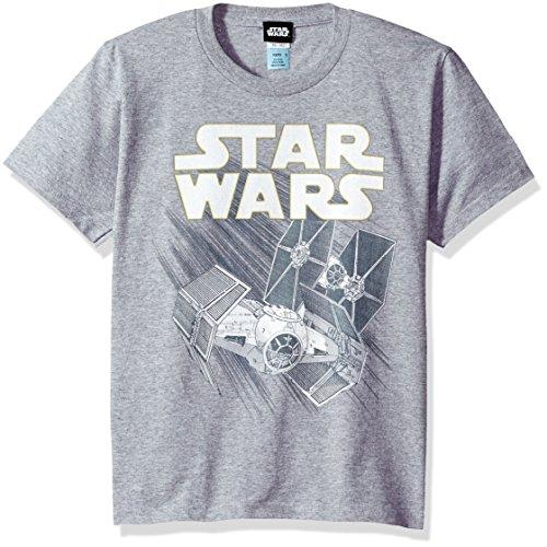 Star Wars Big Boys' Zoom Space Logo Ship Graphic Tee, Ath HTR, YM (Time T-shirt Big Youth)
